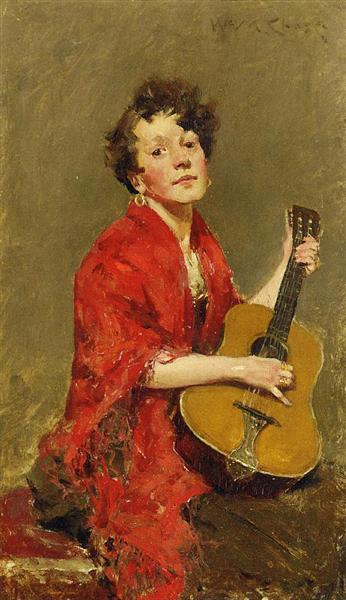 Girl with Guitar, c.1886 - William Merritt Chase