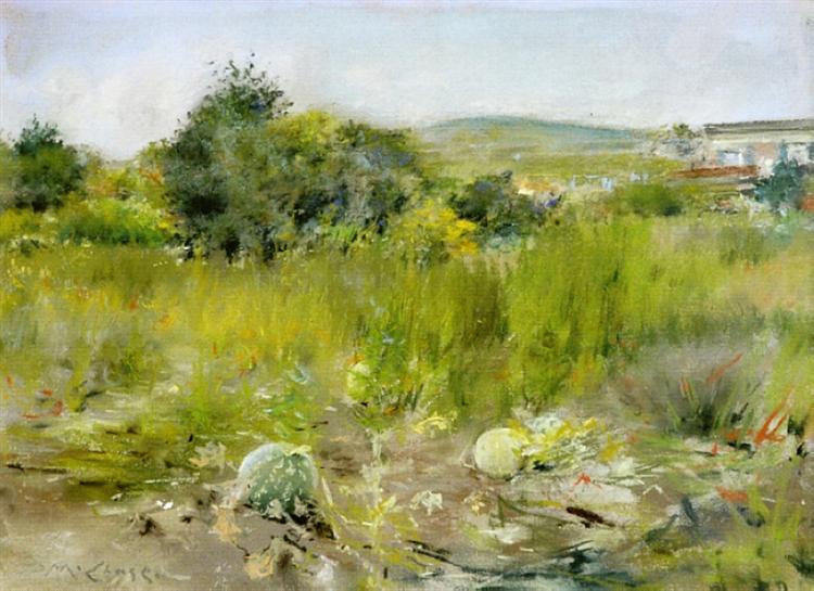 In the Garden (aka A Squatter's Hut, Flatbush or The Old Garden), 1885 - William Merritt Chase