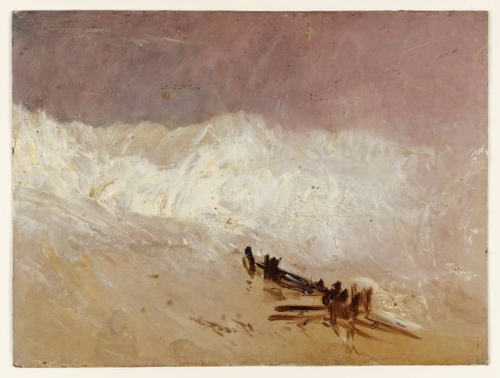 Shore Scene with Waves and Breakwater - J.M.W. Turner