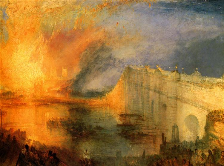 The Burning of the Houses of Parliament, 1834 - Joseph Mallord William Turner