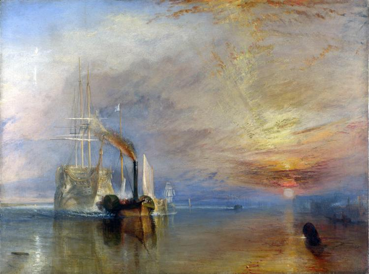 The Fighting Temeraire tugged to her last berth to be broken up - J.M.W. Turner