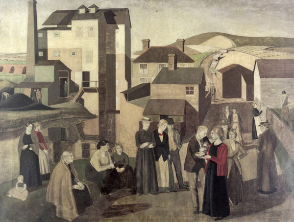 A Scene in a Village Street with Millhands Conversing, 1919 - Винифред Найтс