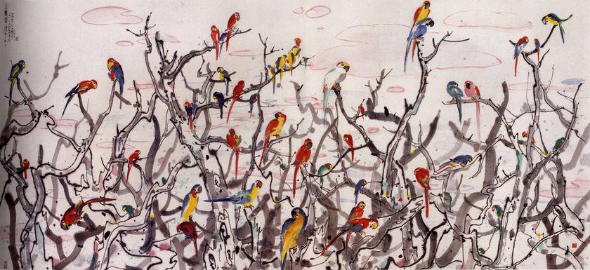 Parrot Haven 1998 Wu Guanzhong Wikiart Org