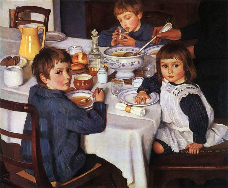 At breakfast - Zinaida Serebriakova