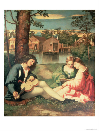 Youth with a guitar and two girls sitting on a river bank - Giorgione